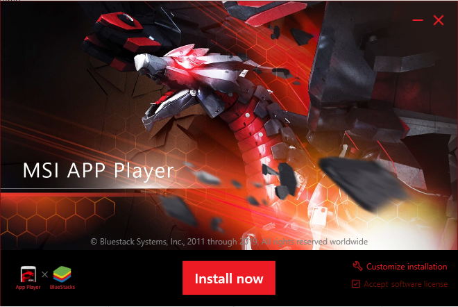MSI app player installation wizard